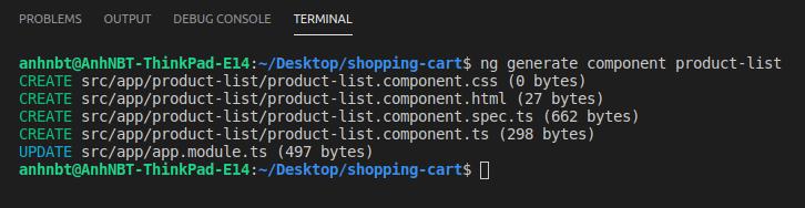Giao diện Termial tạo Component bằng Angular CLI