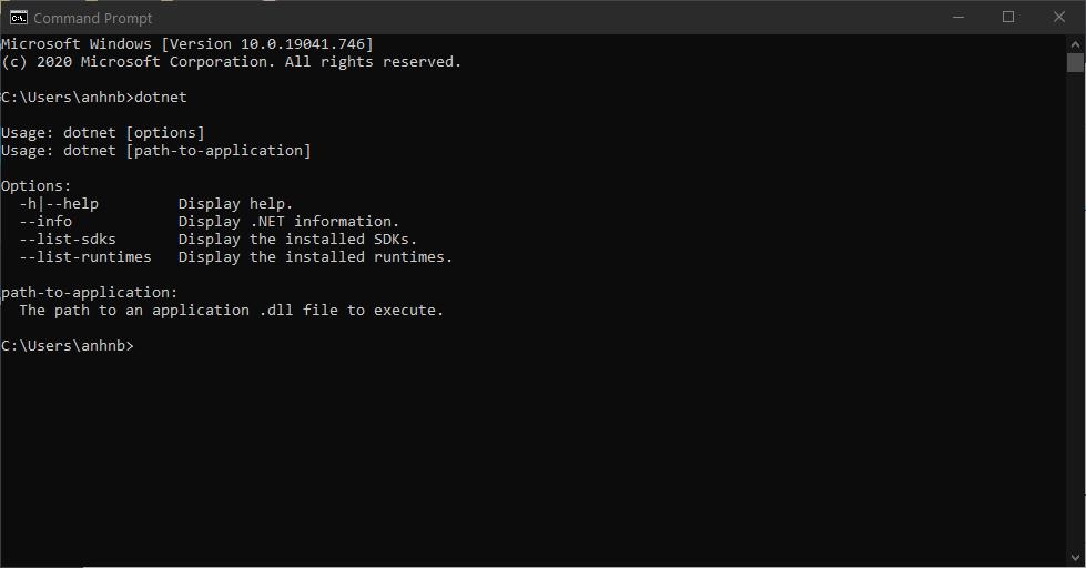 Kiểm tra cài đặt .NET bằng CMD