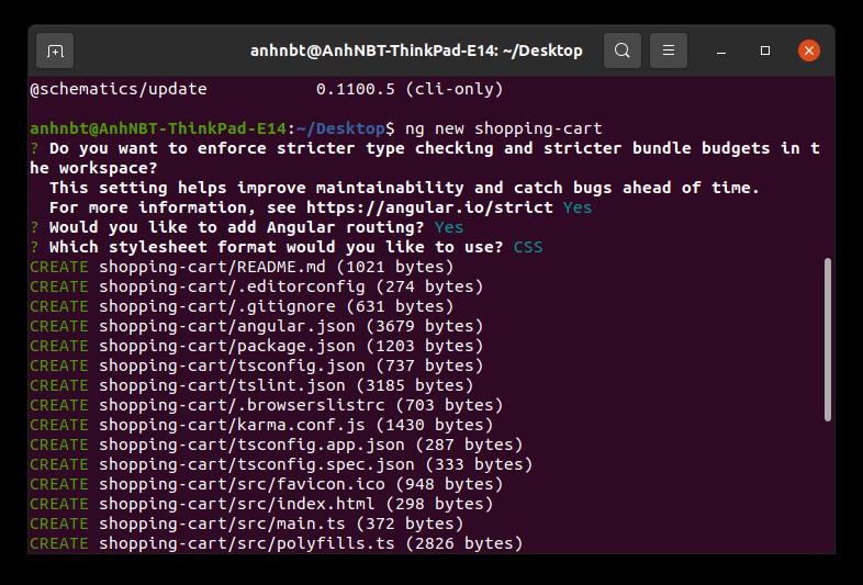 Tạo dự án Angular sử dụng Angular CLI